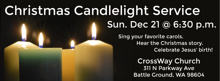 Candlelight Service Sunday, Dec 21 @ 6:30 p.m.